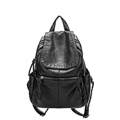 Amazon.com: Hangton Fashion Women Backpacks Soft Washed Leather Casual Bags Schoolbags For Girls Leisure Bags Mochilas Travel Backpack 31X23X11Cm: Shoes