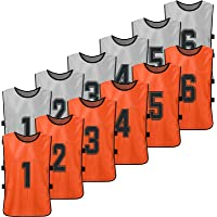 12 PCS Kid's Football Pinnies 2 Colors Quick Drying Soccer Jerseys Youth Sports Scrimmage Basketball Team Training…