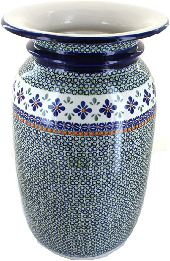 Benzara BM180654 Ceramic Vase with Perforated Pattern Turquoise