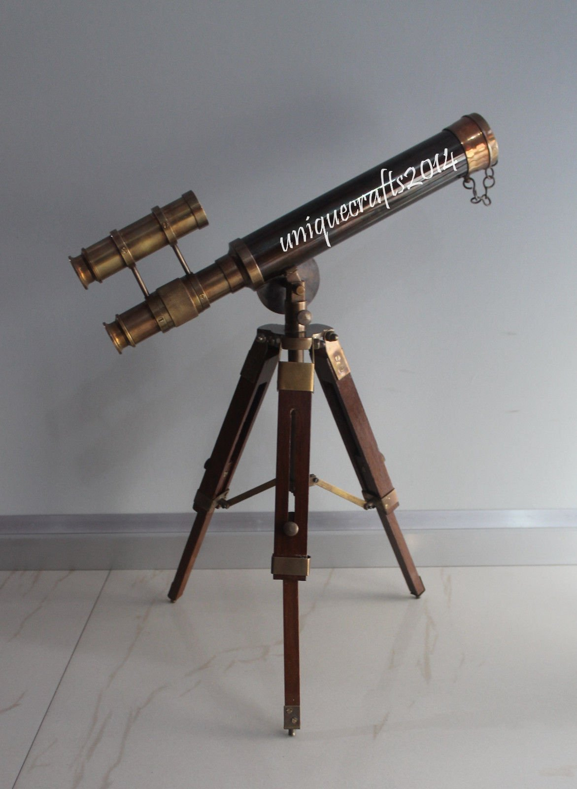 Shaheera Nautical Nautical Antique Brass Telescope 14'' Vintage Marine W/Wooden Tripod Stand Item A