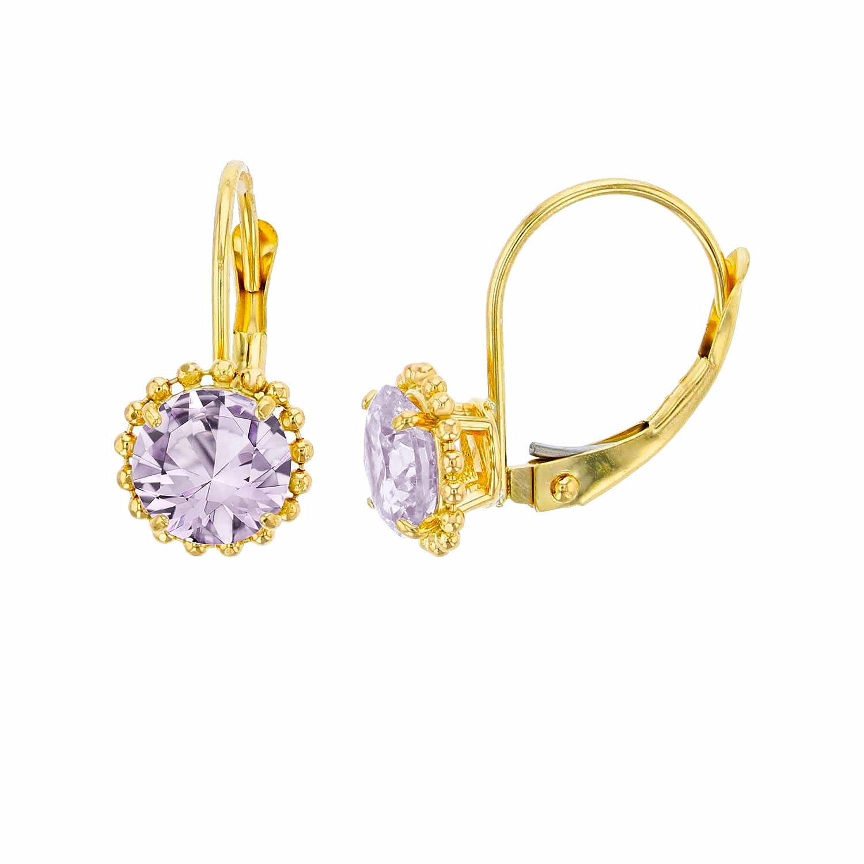 10K Yellow Gold 6mm Round Rose De France Center Stone Bead Frame Leverback Earring