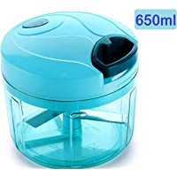 STAR HEAVEN 3 in 1 Vegetable Chopper with 4 Blades 650ml for Kitchen Cutter/Mixer/Juicer Smart Quick Cutter Manual Easy Pull(Color May Vary)