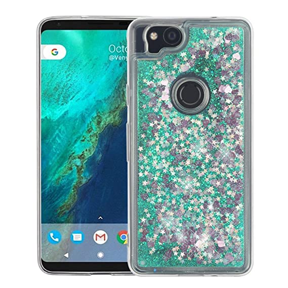 purchase cheap 14bfa e45a6 Google Pixel 2 Case - Liquid Quicksand Glitter Waterfall Hybrid TPU Gel  Fusion Protective Cover Case - (Stars) and Atom Cloth for Google Pixel 2