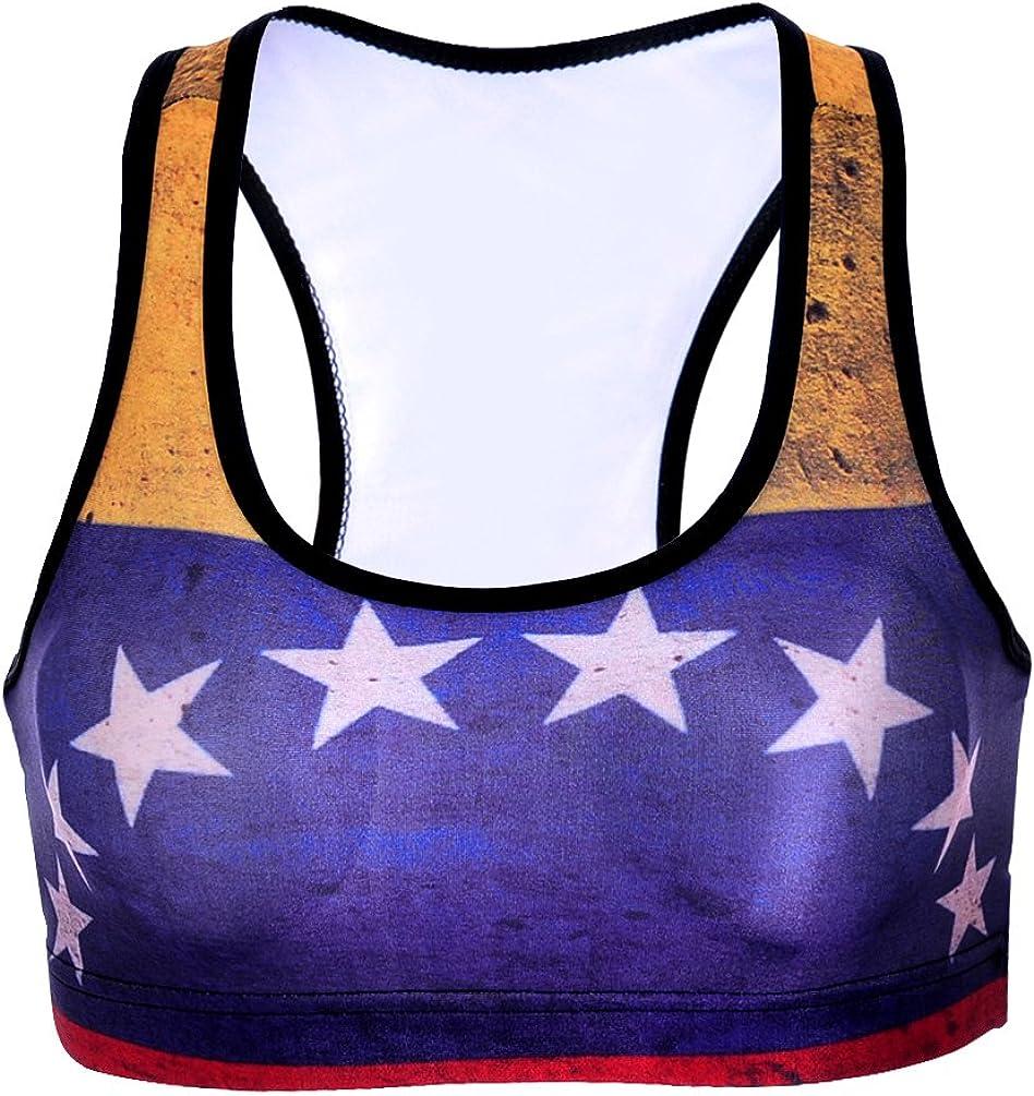Sister Amy Womens Aerobics Gym Dance Yoga Vest Printed Sports Bra Top Vest