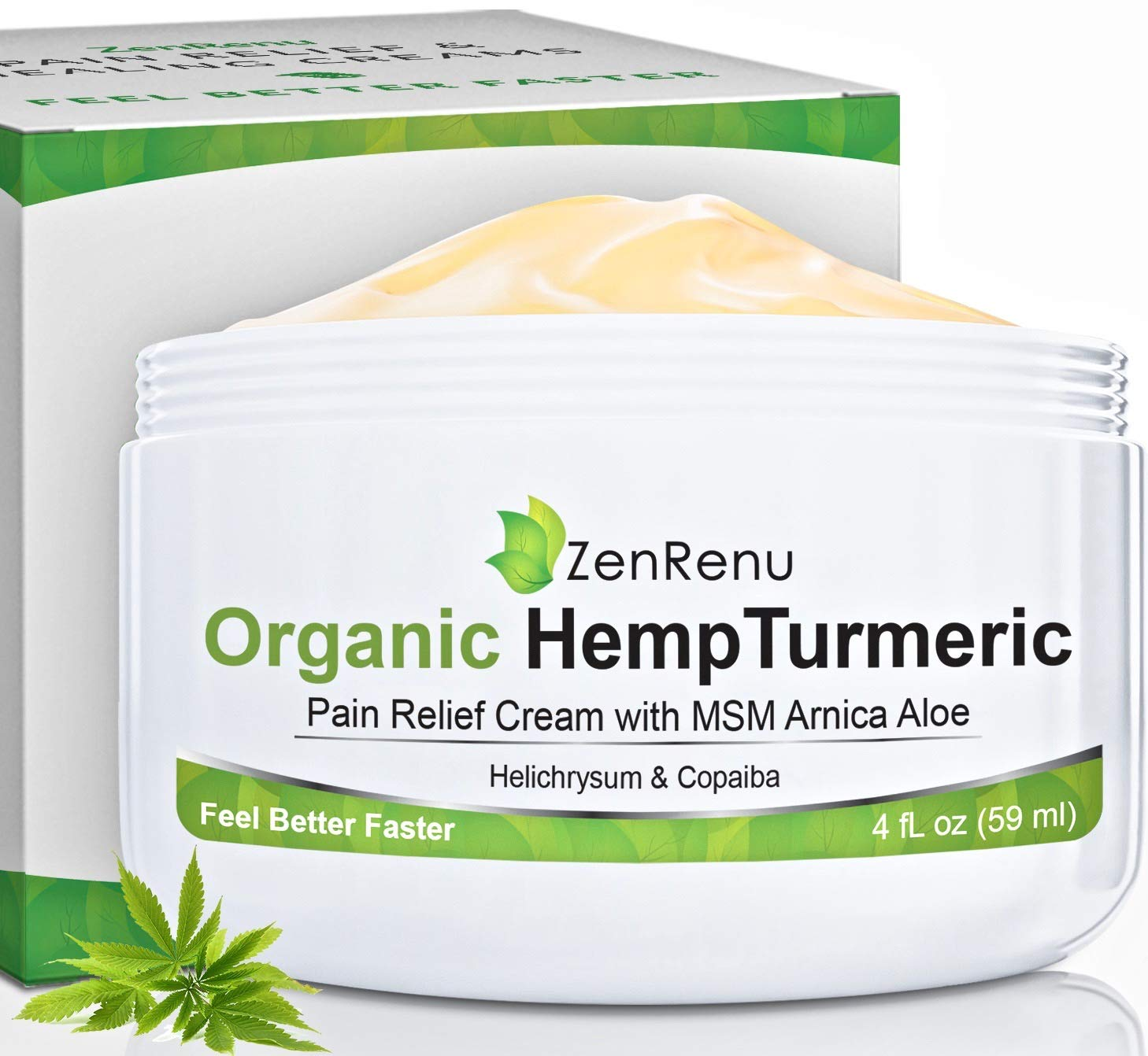 Organic Hemp Pain Relief Cream Large (4 oz) Value Size by ZenRenu - MSM Turmeric Arnica - Made in USA Premium Hemp Extract & Hemp Oil for Pain Relief