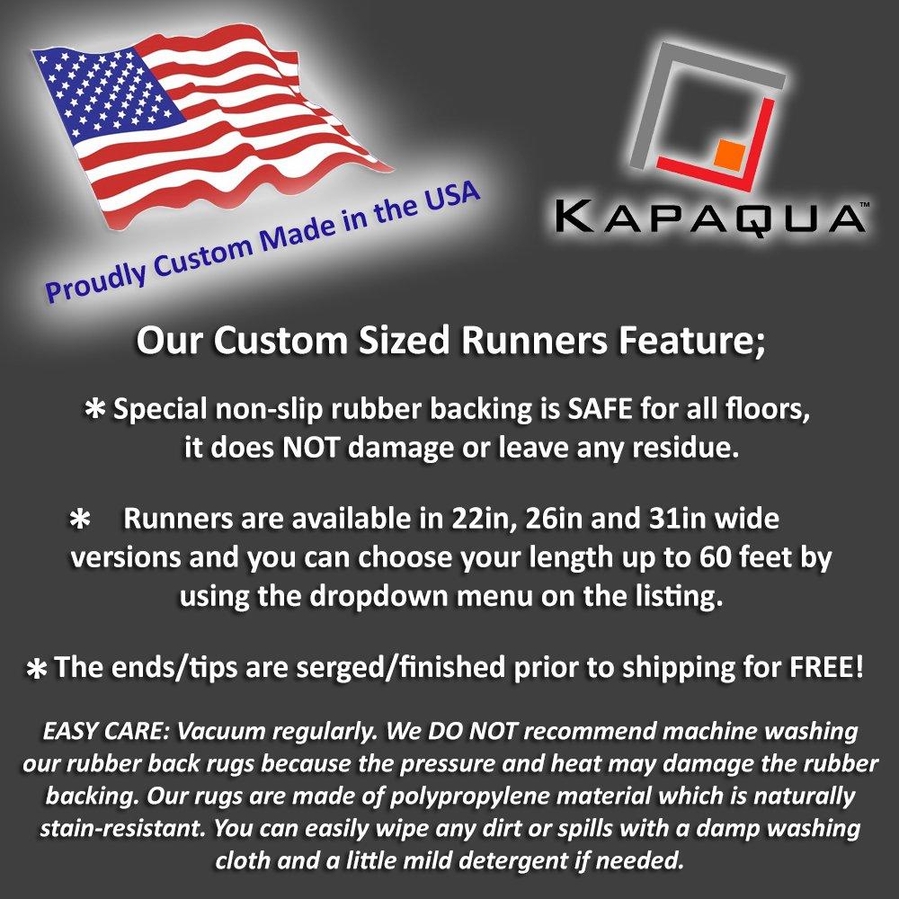 Kapaqua Custom Size Blue Moroccan Trellis Rubber Backed Non-Slip Hallway Stair Runner Rug 22in X 1ft