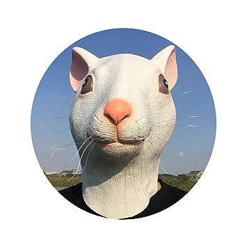 SonMo Máscara de Rata Halloween Decoración Máscara de Latex Látex Ratón Blanca Sonriente