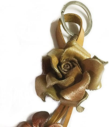Rose Flower Keychain Handmade Rose Charm Keyring