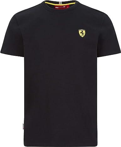 Black Formula 1 Mens Team Logo Tee Scuderia Ferrari Large