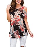 Webury Casual Swing Tunic Blouse Short Sleeve Floral Printed Cold Shoulder Tops for Women with Leggings