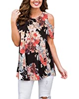 XUERRY Women's Swing Floral Print Casual Cold Shoulder Tunic Tops Short Sleeve Loose Blouse Shirts