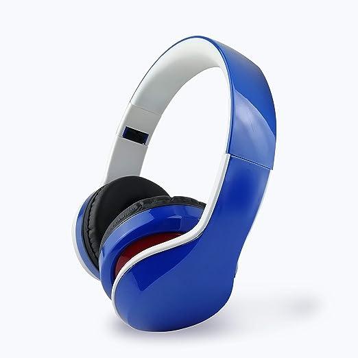 Bluetooth Deportes Auriculares, Auricular estéreo Bilateral Plegable Auriculares inalámbricos para PS4 Xbox One Ordenador portátil Mac Playstation 4,Blue: Amazon.es: Hogar