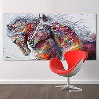 OFVV retrò Nostalgia Marrone Cavallo Muro Arte Dipinto Danza Originale Soggiorno casa Decorazione Moderna Animale Pittura Olio su Tela,70 * 140cm