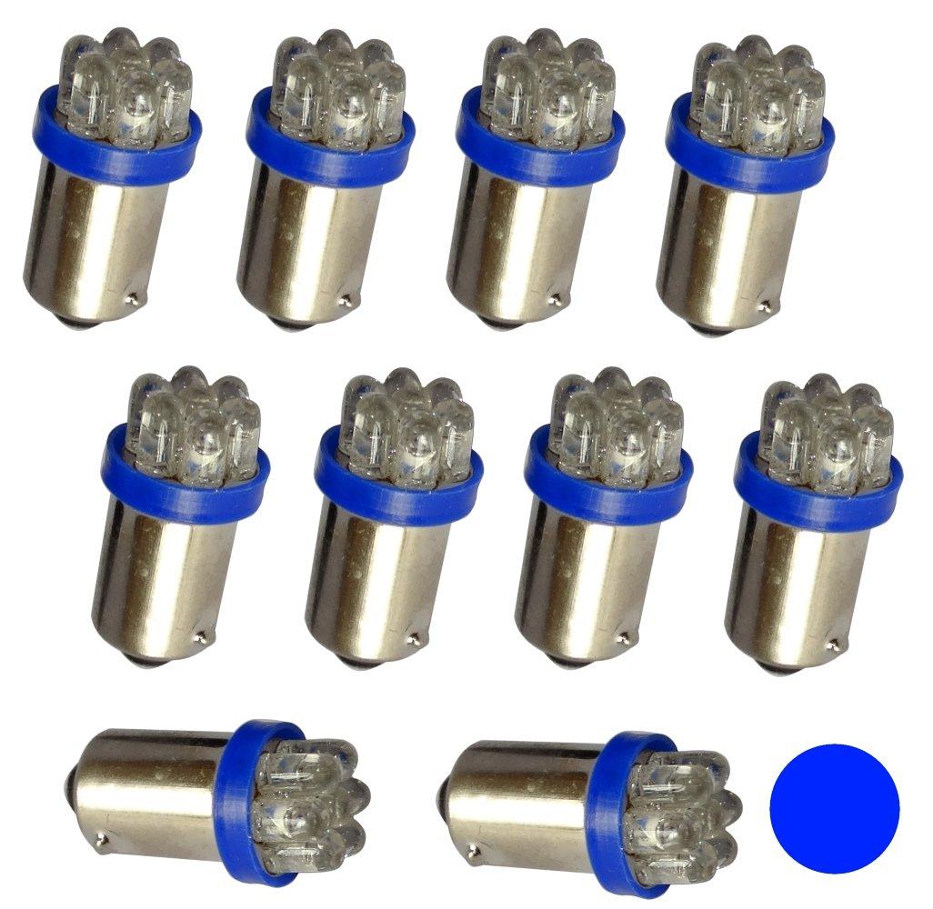 del compartimiento del motor y del maletero luz del techo luz de matricula AERZETIX: 10 x Bombillas T4W T5W BA9s 12V 7LED azul para iluminacion interior luces umbrales de puertas