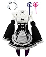 HalloweenCostumeParty Women Anime Cosplay Lolita Maid Dress with Headband Black White