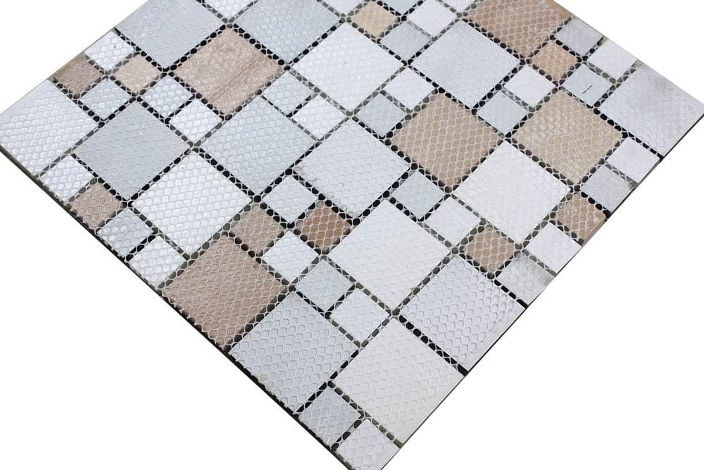 G2348d Decoraport 8mm Thickness Electroplated Glass Mesh Mounted Mosaic Tile Sheet For Kitchen Backsplash Bathroom Wall And Swimming Pool 12x12 Inch 1212 Sample Glass Tiles Tools Home Improvement