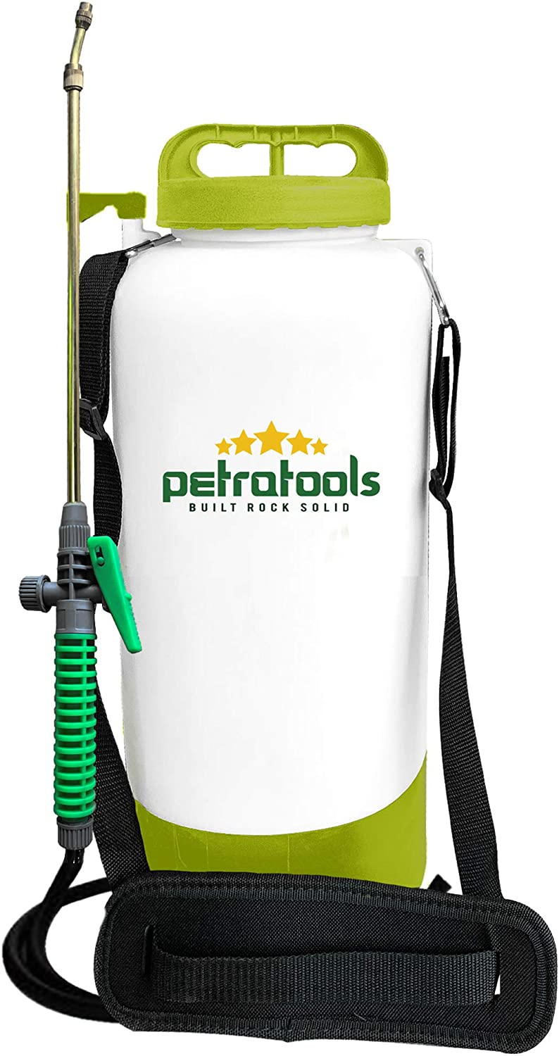 PetraTools 2-Gallon Battery Sling Sprayer - For Water, Weed Killer, Pesticide, Fertilizer & Other Plant Chemical Applications - Non Pump Garden & Lawn Sprayer - With Durable Pressure Tank & Spray Hose