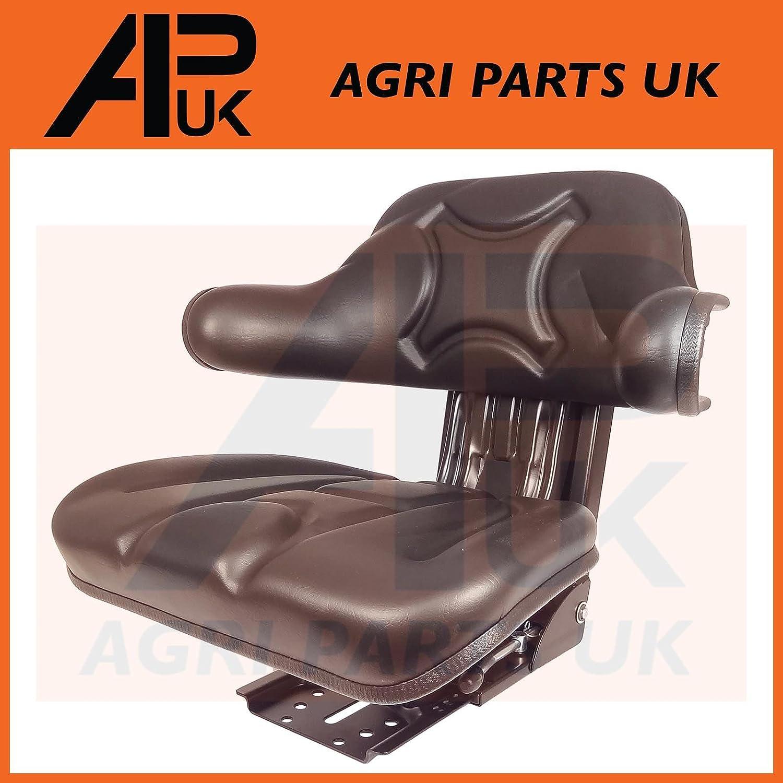 APUK QUALITY UNIVERSAL ADJUSTABLE SUSPENSION SEAT WITH ARM REST TRACTOR DUMPER FORKLIFT RIDE ON MOWER DIGGER BLACK WATERPROOF Agri Parts UK Ltd