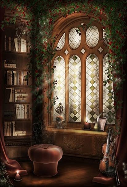 AOFOTO 3x5ft Vintage Interior Bookshelf Photography Background Retro Window Backdrop Bookcase Vines Flowers Magic Forest Room