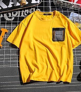 el Verano Mujer Suelto Tendencia Dibujos Animados Camiseta,Hombre Cuello Redondo Manga Corta,Color Sólido Algodón Estudiante Camiseta Salvaje/ amarillo/M: Amazon.es: Bricolaje y herramientas