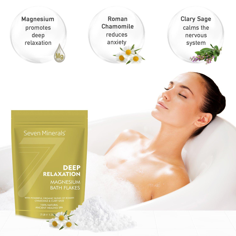 Los nuevos copos DEEP RELAXATION de cloruro de magnesio 1.36kg, que se absorben mejor que la sal de Epsom - Fórmula única de suplemento de baño para el ...