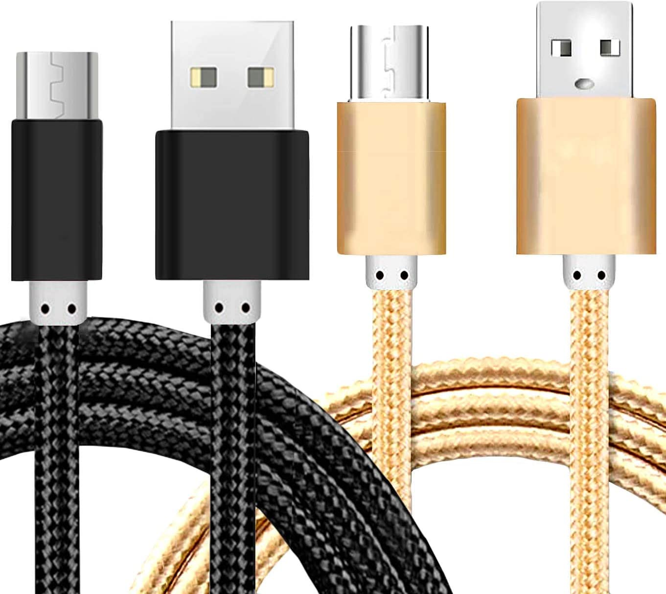 5 Ft Micro USB Fast Charging Cord Charging Nylon Braided Replacement High Speed Data Sync Charger Compatible with Kindle Touch 2011 Fire Keyboard-Black+rosGold+Silver iEugen Micro USB Cable 3Pack