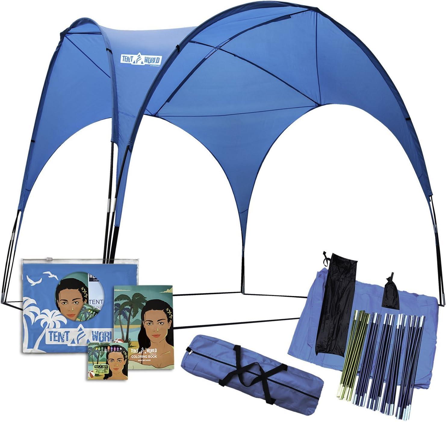 Abri De Plage Sun L Immense Tente à 3x3 M Offre Ombrage Pour 12 Personnes Cabane à Installation Rapide Pour Les Fêtes Avec Protection Uv Gazebo Auvent Bleu étanche Pour Utilisation