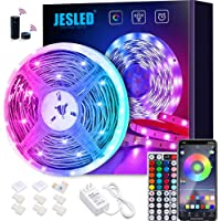 JESLED WiFi LED Strips Lights for Bedroom 5m, 5050 RGB LED Rope Lights with 44 Keys RF Remote Controller, Compatible…