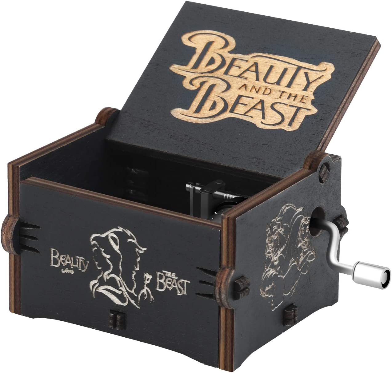 Girls Beauty and The Beast Boys Friends Merchandise Vintage Classic Wood Hand Crank Carved Best Gift for Kids mrwinder Beauty and The Beast Music Box