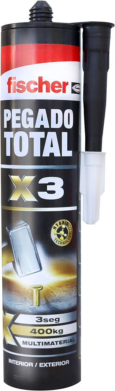 Fischer Adhesivo de montaje Pegado Total X3 (tubo 290 ml) blanco, para pegar sobre cualquier material de construcción y bricolaje, rápido agarre, gran adhesión, resistencia a la intemperie