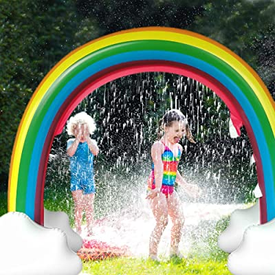 SURPCOS Rainbow Sprinkler Outdoor Inflatable Pools Summer Sprinkler Toys, Perfect for Children Infants Boys Girls and Kids, Over 6 Feet Long: Toys & Games
