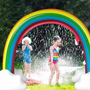 SURPCOS Rainbow Sprinkler Outdoor Inflatable Pools Summer Sprinkler Toys, Perfect for Children Infants Boys Girls and Kids, Over 6 Feet Long