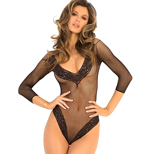 053d470586 Women s Sexy Teddy Fishnet Fantasy Thong One Piece See Through Bodysuit  (Medium Large