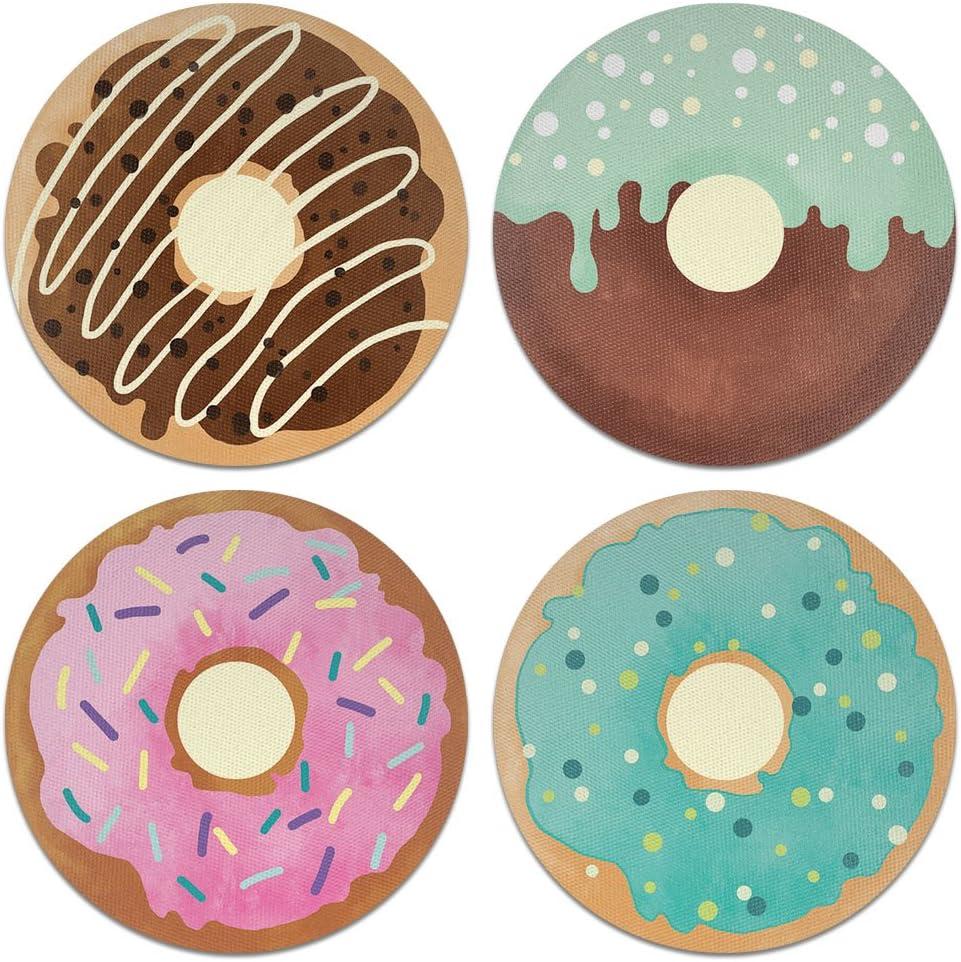 CARIBOU Coasters CB-WHTFAB-4-C0087, Donuts Design Absorbent Round Fabric Felt Neoprene Coasters for Drinks, 4pcs Set