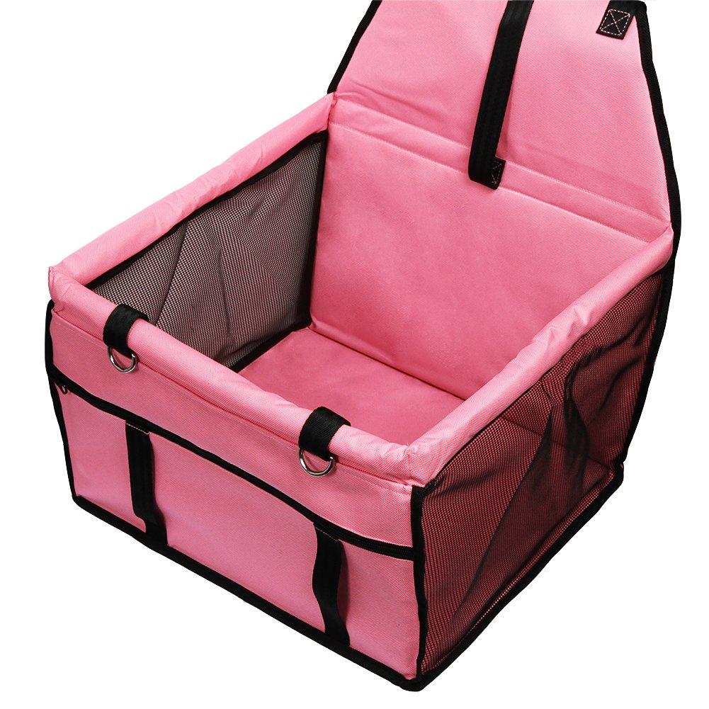 Rojo GENORTH/® Asiento del Coche de Seguridad para Mascotas Perro Gato Plegable Lavable Viaje Bolsas y Otra Mascota Peque/ña con Cremallera Bolsillo
