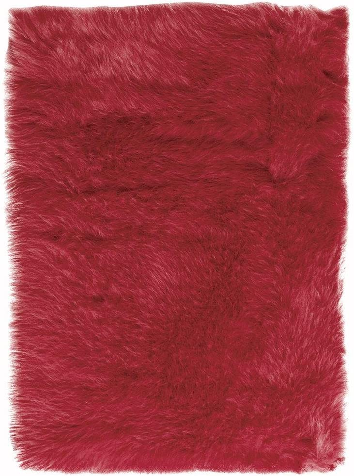 Home Decorators Collection Faux Sheepskin Area Rug, 5'X8', Red