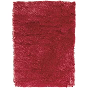 Amazon Com Faux Sheepskin Area Rug 8 X11 Red Kitchen