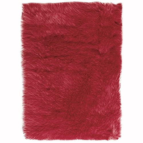 Home Decorators Collection Faux Sheepskin Area Rug, 5 X8 , Red