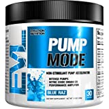 Evlution Nutrition Pump Mode Nitric Oxide Booster To Support Intense Pumps Performance And Vascularity, 30 Servings (Blue Raz)