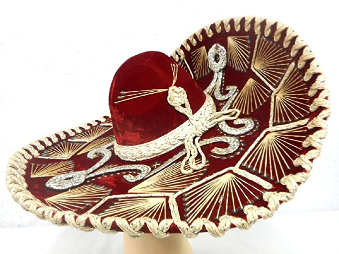 Amazon.com: Red Mexican Charro Mariachi Hat Sombrero with Multi-color Trim - Adult: Kitchen & Dining
