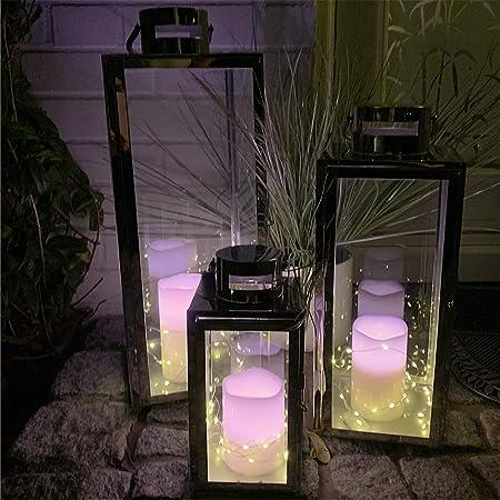 Juego completo de 3 faroles de jardín XXL de Mojawo, juego de 3 farolillos de acero inoxidable de 30/40/53 cm de color plateado, con 3 luces LED y 3 velas de cera: Amazon.es: Hogar