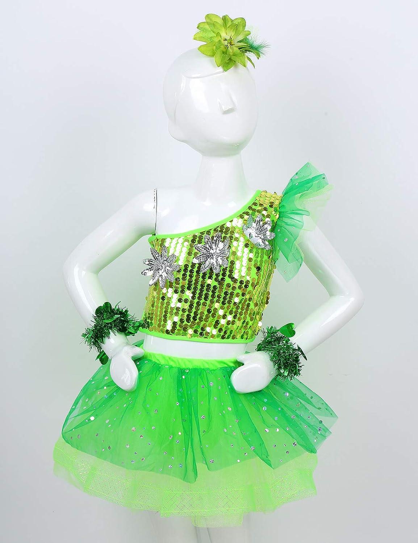VernLan Kids Girls Swan Dance Costumes Stage Performance Ballet Tutu Skirt Dress with Arm Sleeves Hair Clip Set