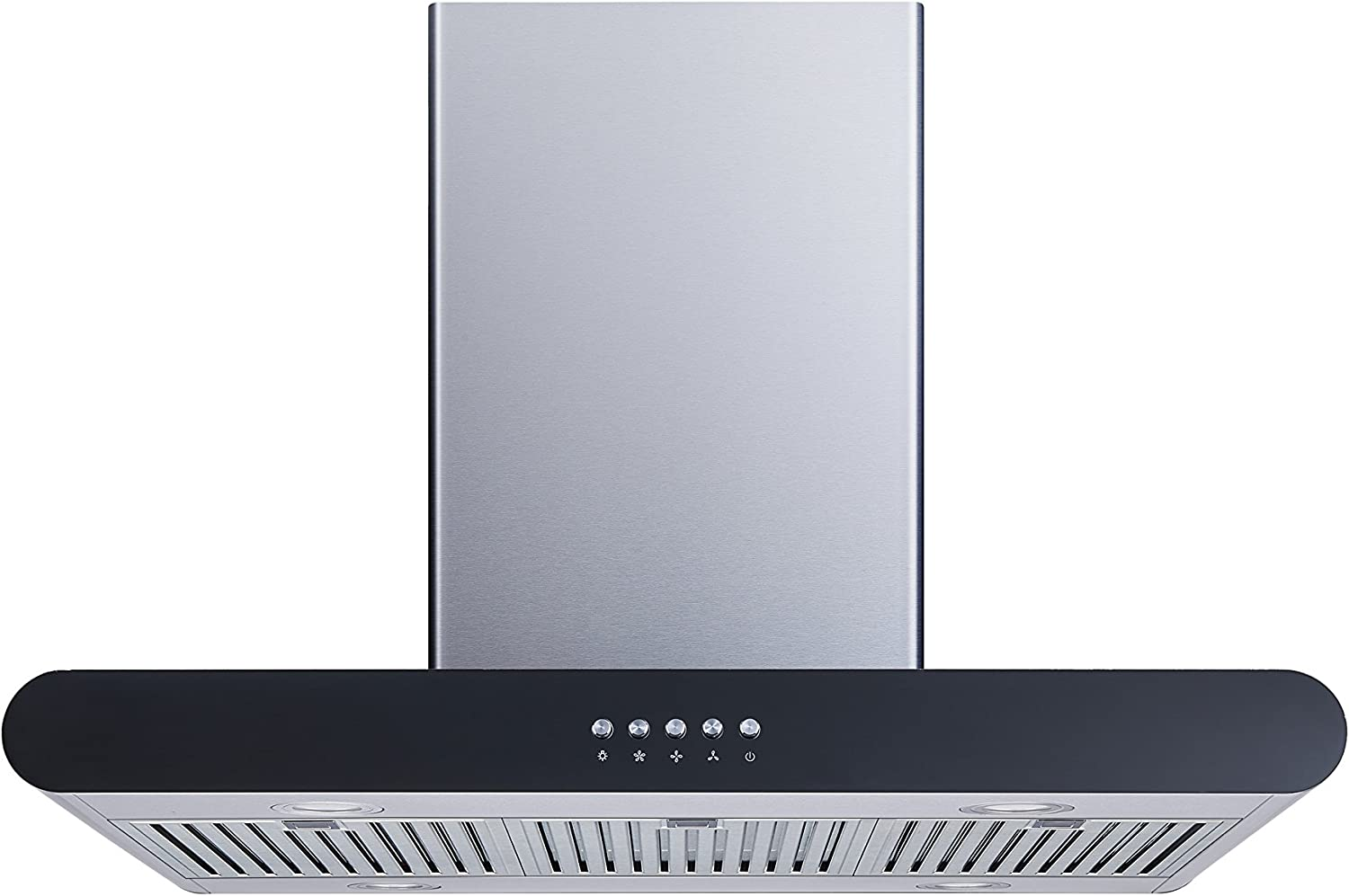Winflo 30 In. Convertible Stainless Steel Island Range Hood with Stainless Steel Baffle Filters and Push Button Control