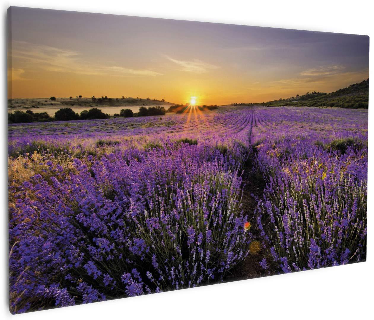 Wallario Leinwandbild Sonnenuntergang über Dem Lavendel - 60 x 90 cm in Premium-Qualität  Brillante lichtechte Farben, Hochauflösend, verzugsfrei