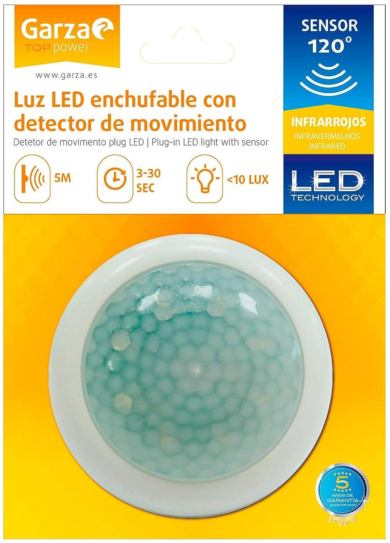 Garza 430075 Detector de Movimiento Infrarrojos con Luz LED Quitamiedos, Enchufable, ángulo de detección 120º, Blanco: Amazon.es: Bricolaje y herramientas