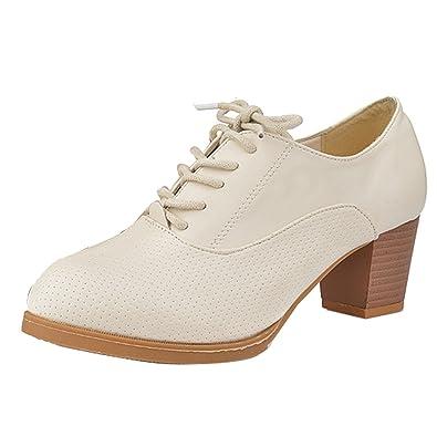 Amazon Gaorui Retro Women Girl Lace Up Mid Chunky Heels Shoes
