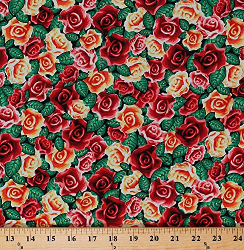 Cotton Roses Red Yellow Rose Flowers Floral Lady of Guadalupe Gold Metallic Shimmer Valentines Day Cotton Fabric Print by The Yard (4803M-10)