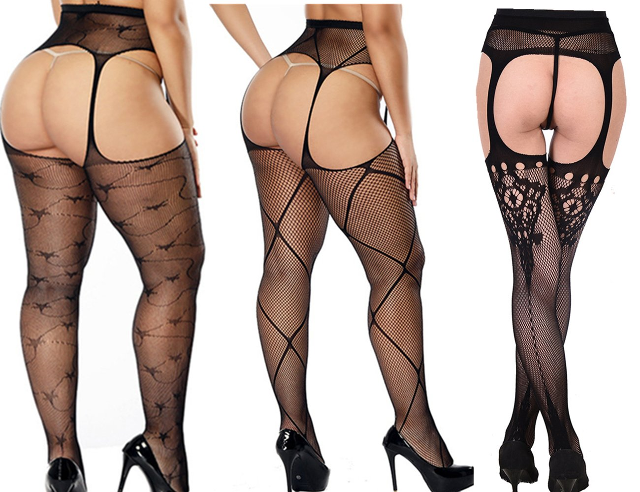 2 Pack Womens Sheer Suspender High-Heel Panty-Hose and Tights With Black/Red Line Back-seam For Women Sexy Hosiery (Fishnet Black, 3)