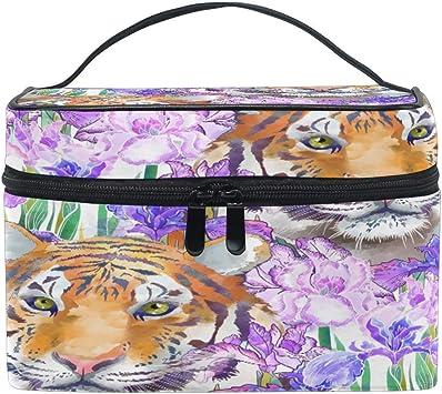 Bolsa de Maquillaje, Animal Tiger Floral Flower Estuche de Viaje portátil Gran impresión Cosmética Bolsa Organizador Compartimentos para niñas Wome: Amazon.es: Equipaje