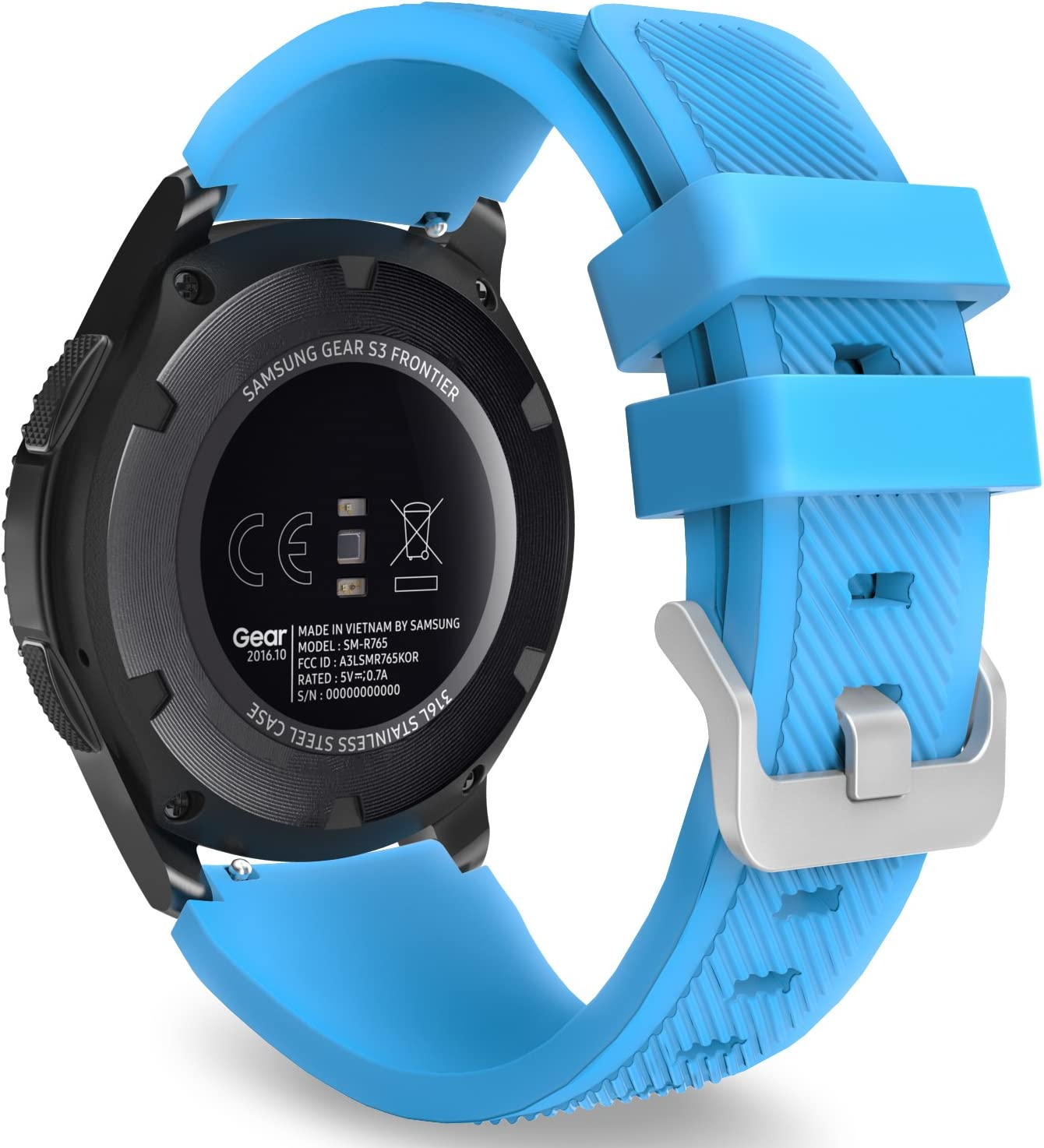 MoKo Band Compatible with Samsung Galaxy Watch 3 45mm/Gear S3 Frontier/Classic/Galaxy Watch 46mm/Huawei Watch GT2 Pro/GT 2e/GT 46mm/GT2 46mm/Ticwatch Pro 3, Silicone Strap Fit 22mm Band, Blue